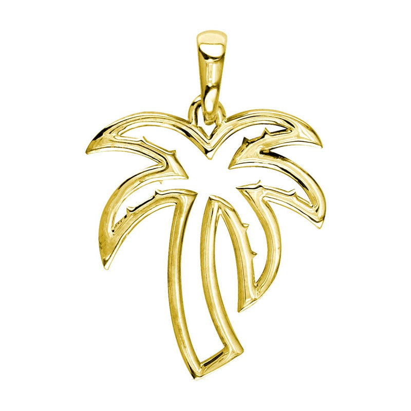 Small Open Contemporary Palm Tree Charm in 18k Yellow Gold