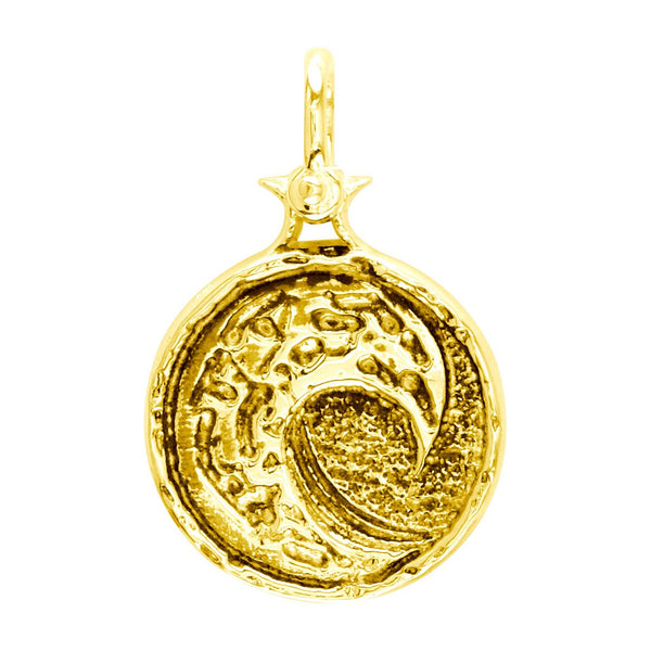 Solid Wave Charm with Black in 18k Yellow Gold