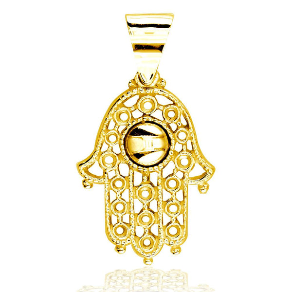 Vintage Style Hamsa, Hand of God Charm in 14K Yellow Gold