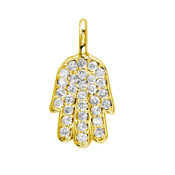 Mini Diamond Hamsa Version 2, Hand of God Charm, 0.15CT in 14K Yellow Gold