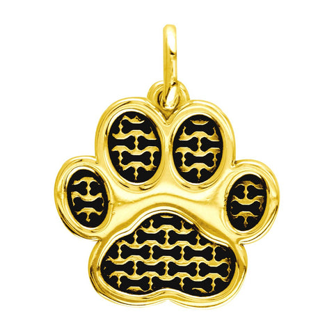Large Dog Paw Charm with Black in 14k Yellow Gold