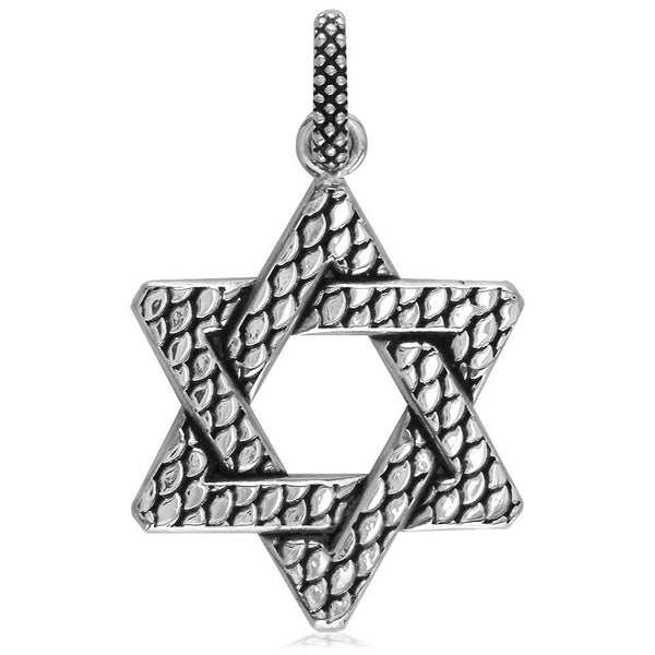 Extra Large Bold Metal Snake Skin Star Of David Charm, Jewish Star in 18K White gold