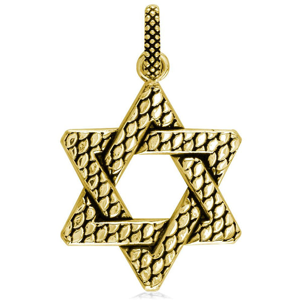 Extra Large Bold Metal Snake Skin Star Of David Charm, Jewish Star in 18K Yellow gold