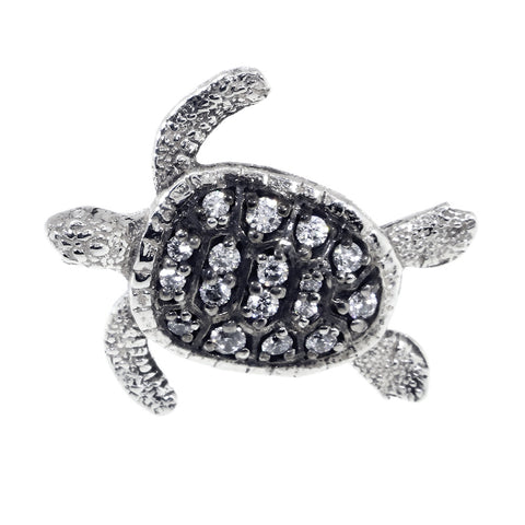 Cubic Zirconia 3D Sea Turtle Charm in Sterling Silver with Black