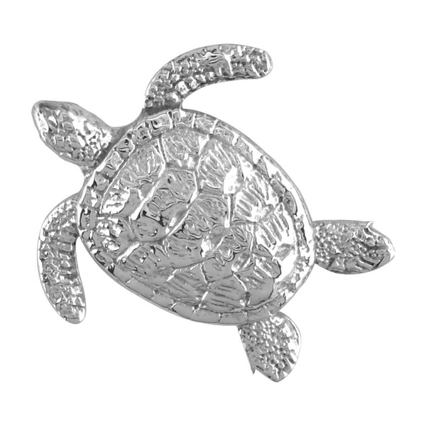 3D Sea Turtle Charm in 14K White Gold