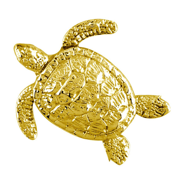 3D Sea Turtle Charm in 14K Yellow Gold