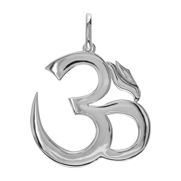 Super Jumbo Classic Yoga Ohm, Om, Aum Charm in Sterling Silver