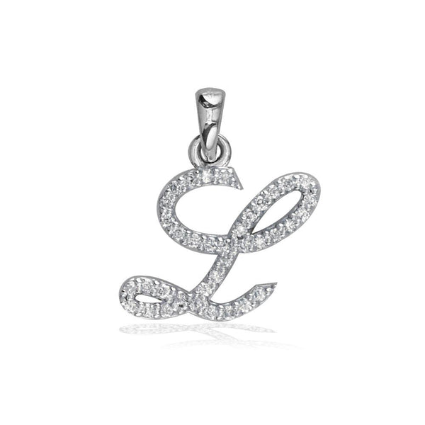 Small Diamond Script L Initial Charm, 0.18CT in 18K White gold