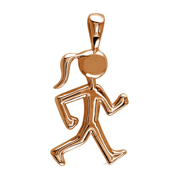 Lady Racewalker Charm in 14K Pink Gold