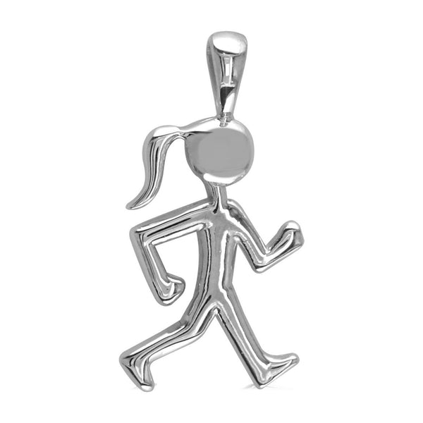 Lady Racewalker Charm in 14K White Gold