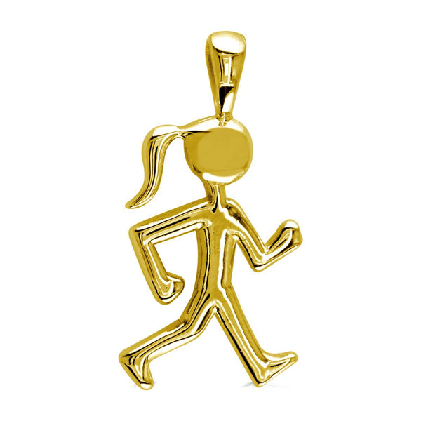 Lady Racewalker Charm in 14K Yellow Gold