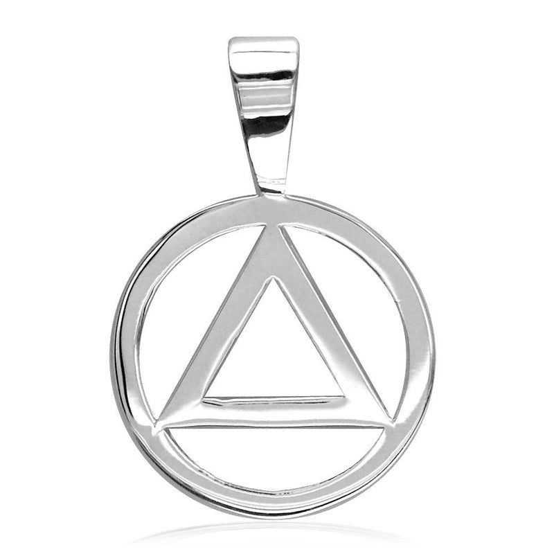 Small AA Sobriety Charm in Sterling Silver