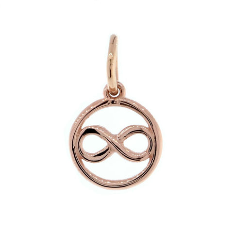 Mini Infinity and Circle Charm in 14K Pink, Rose Gold