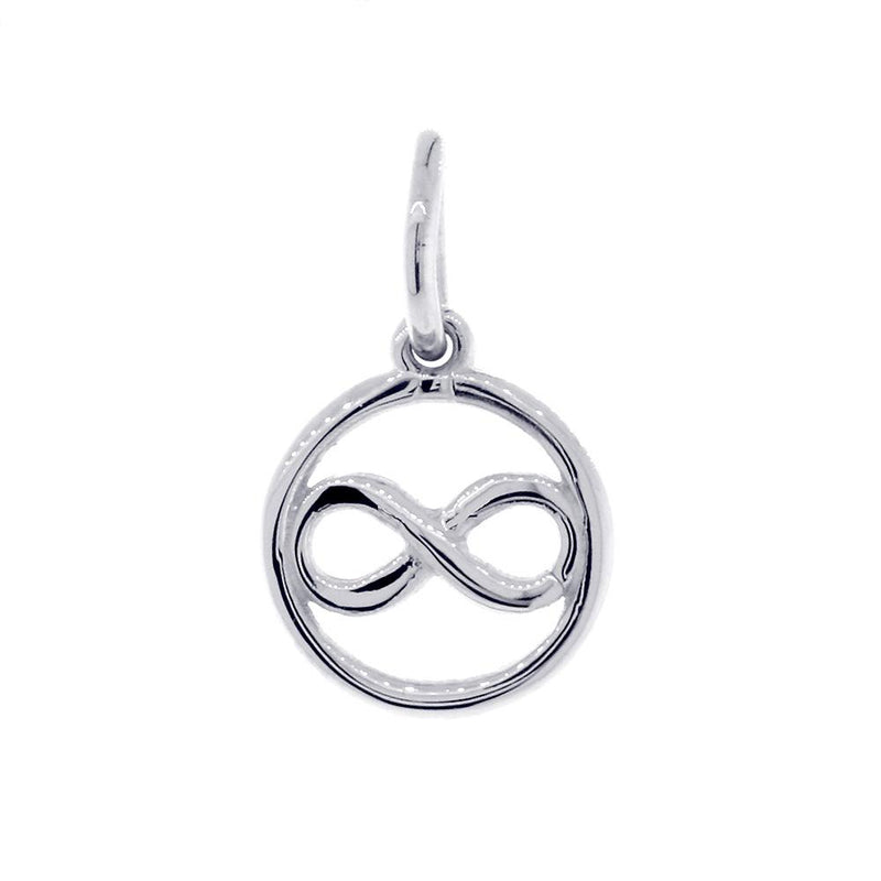 Mini Infinity and Circle Charm in 18k White Gold
