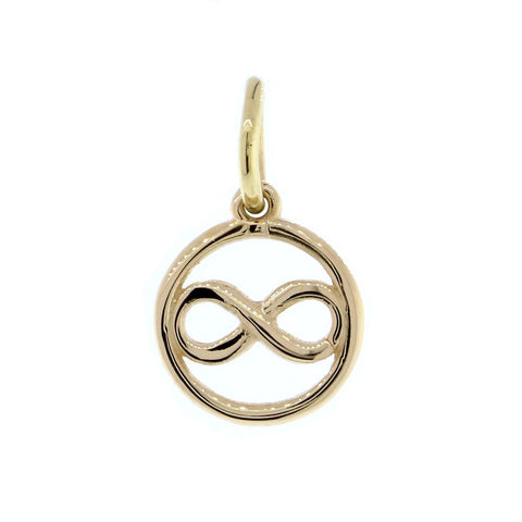 Mini Infinity and Circle Charm in 18k Yellow Gold