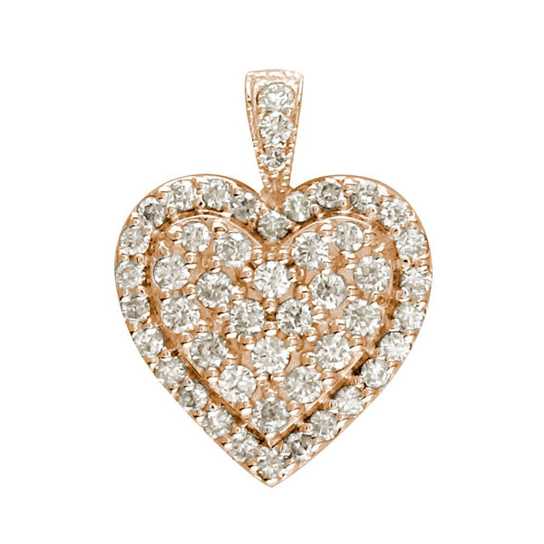 Diamond Cluster Heart Pendant, 1.25CT in 14K Pink, Rose Gold