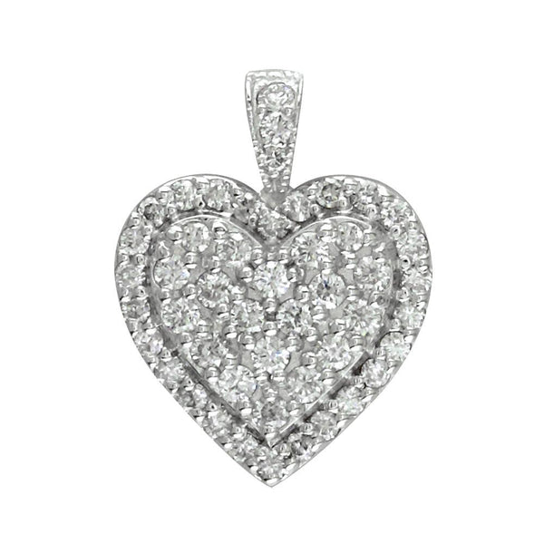 Diamond Cluster Heart Pendant, 1.25CT in 14K White Gold