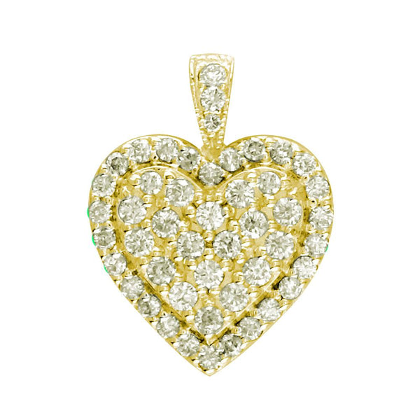 Diamond Cluster Heart Pendant, 1.25CT in 14K Yellow Gold