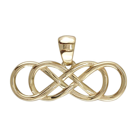 Large Double Infinity Symbol Sideways Charm in 18K yellow gold