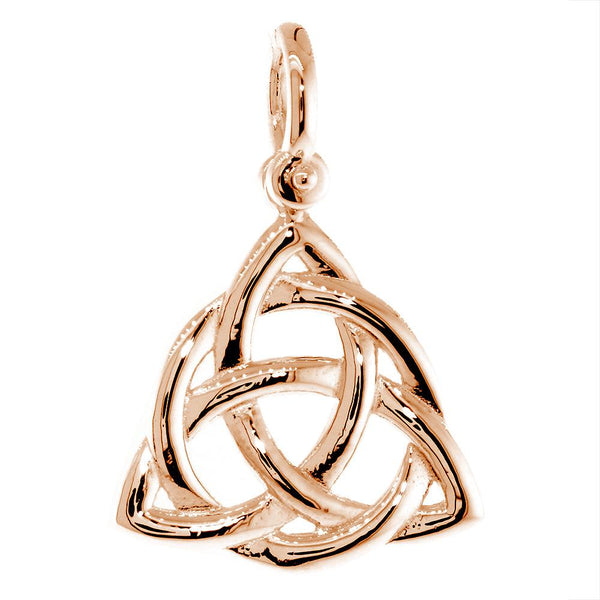 Large Triquetra Irish Infinity Knot Symbol Charm in 14K Pink, Rose gold