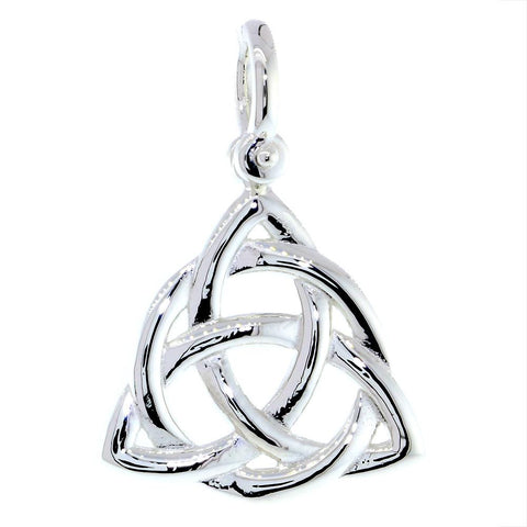 Large Triquetra Irish Infinity Knot Symbol Charm in 18K White Gold