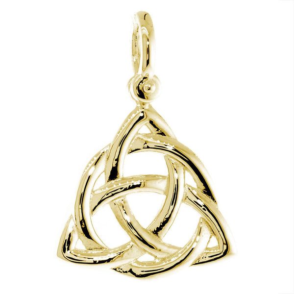 Large Triquetra Irish Infinity Knot Symbol Charm in 14K Yellow Gold