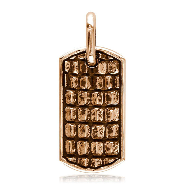 Alligator Skin Dog Tag Pendant in 18K Pink, Rose Gold