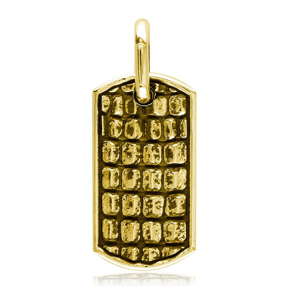 Alligator Skin Dog Tag Pendant in 18K Yellow gold