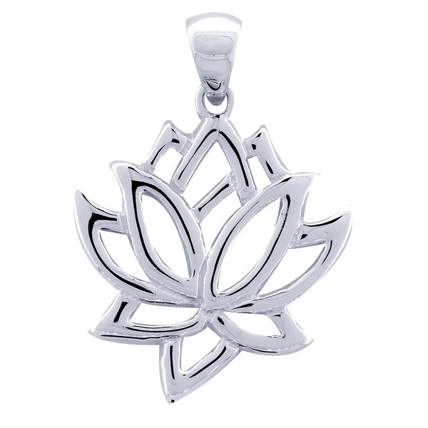 Large Lotus Flower Charm in 14k White Gold