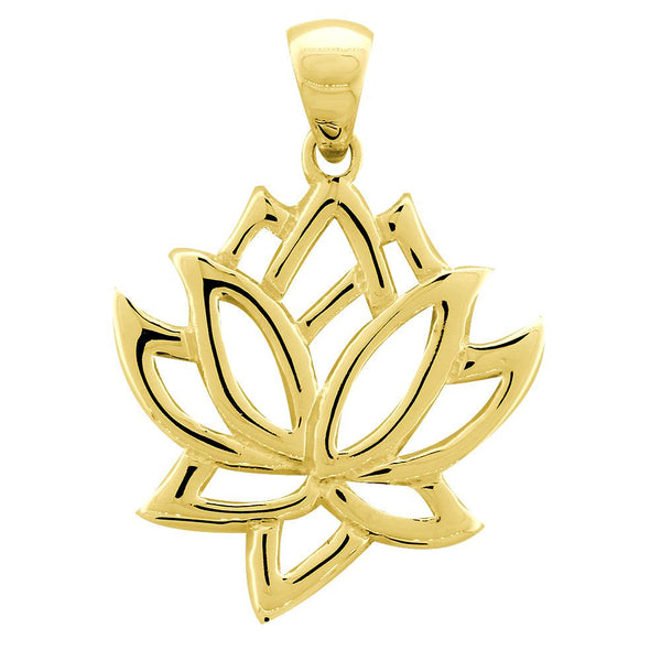 Large Lotus Flower Charm in 18K Yellow Gold