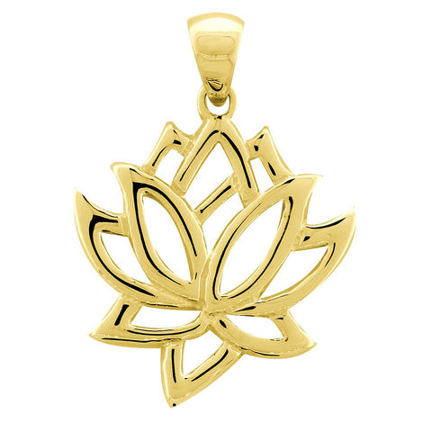 Large Lotus Flower Charm in 14k Yellow Gold