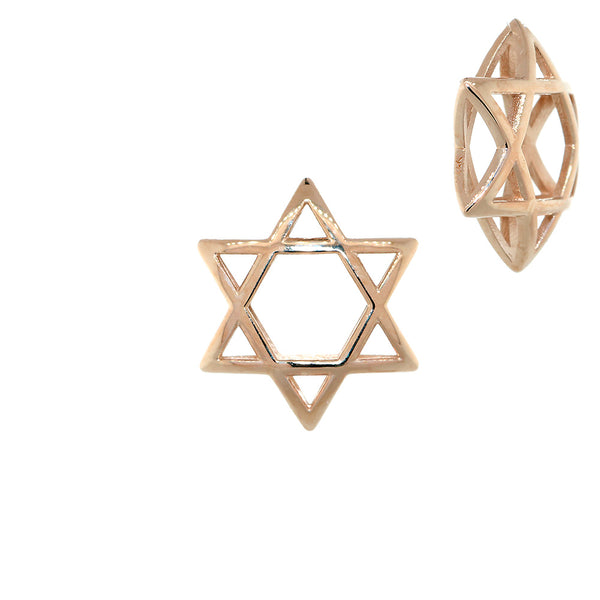 17mm 3D Open Domed Jewish Star of David Charm in 14k Pink, Rose Gold