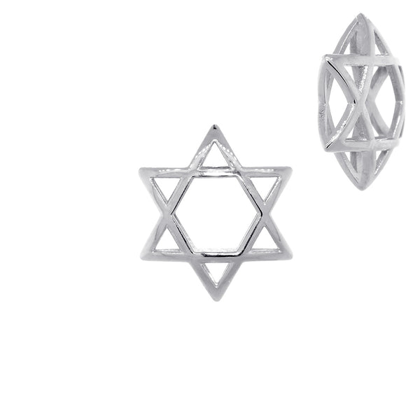 17mm 3D Open Domed Jewish Star of David Charm in 14k White Gold