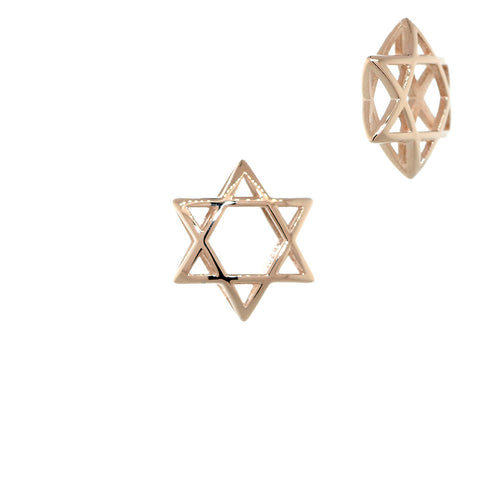 13mm 3D Open Domed Jewish Star of David Charm in 14k Pink, Rose Gold
