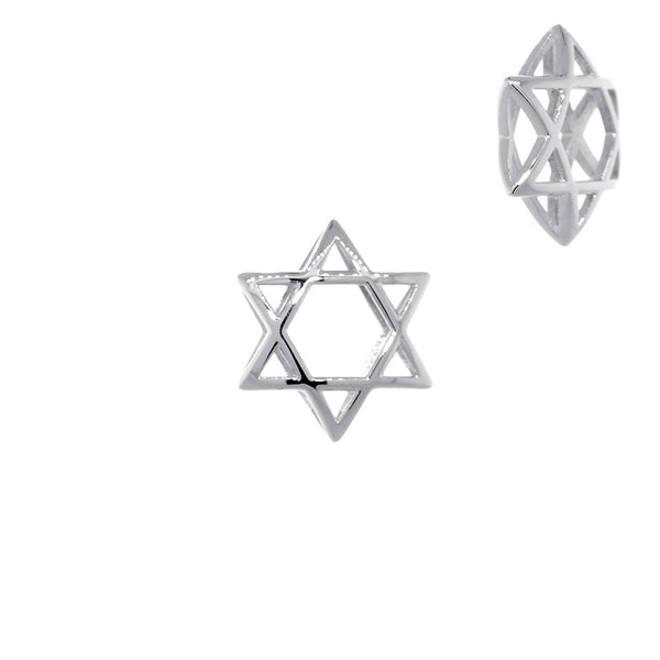13mm 3D Open Domed Jewish Star of David Charm in 14k White Gold