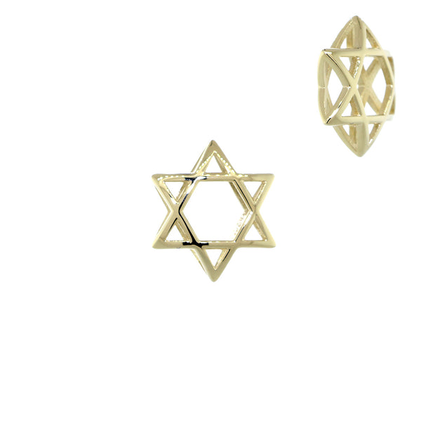 13mm 3D Open Domed Jewish Star of David Charm in 14k Yellow Gold