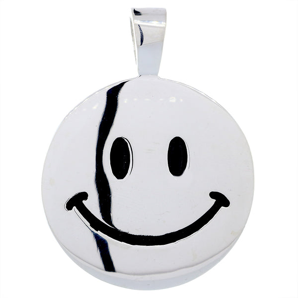Double Sided Extra Large Black Happy, Smiley Face Charm, 28mm in Sterling Silver