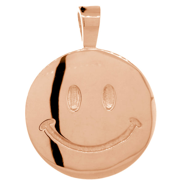 Double Sided Extra Large Happy, Smiley Face Charm, 28mm in 14K Pink, Rose Gold