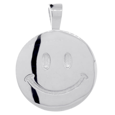 Double Sided Extra Large Happy, Smiley Face Charm, 28mm in 14K White Gold