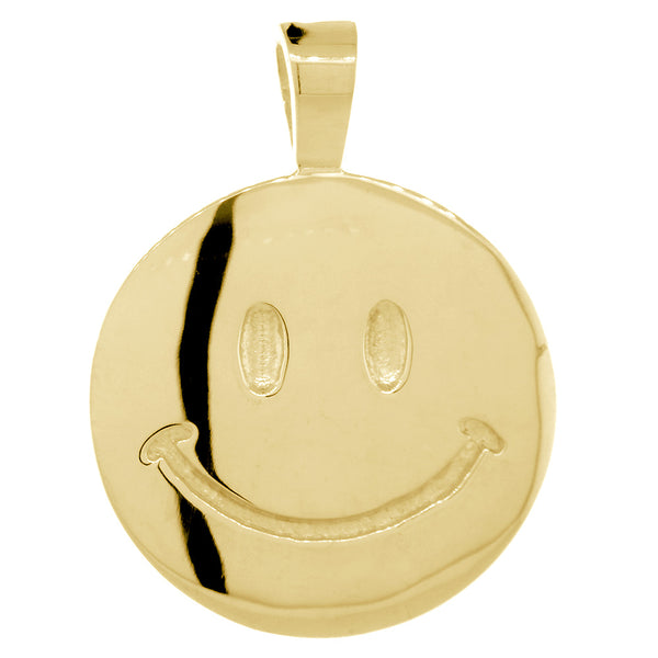 Double Sided Extra Large Happy, Smiley Face Charm, 28mm in 18K Yellow Gold