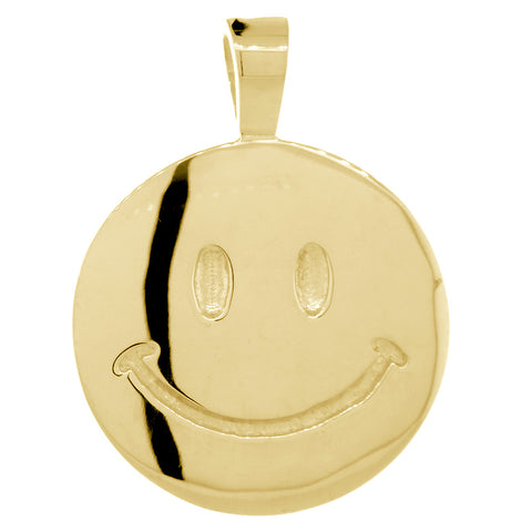 Double Sided Extra Large Happy, Smiley Face Charm, 28mm in 14K Yellow Gold
