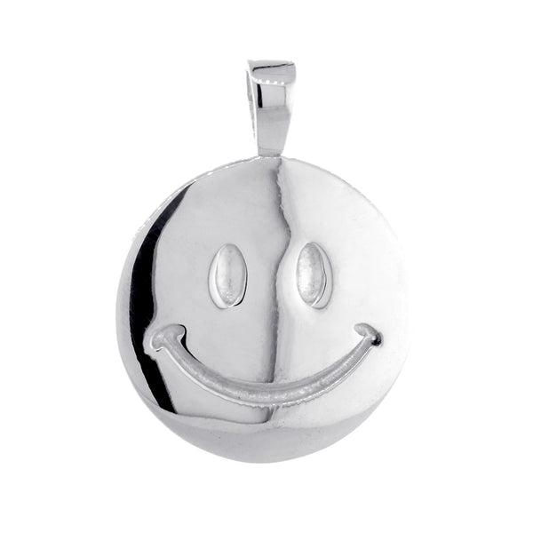 24mm Double Sided Happy, Smiley Face Charm in 14k White Gold