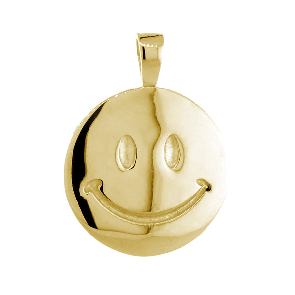 24mm Double Sided Happy, Smiley Face Charm in 14k Yellow Gold