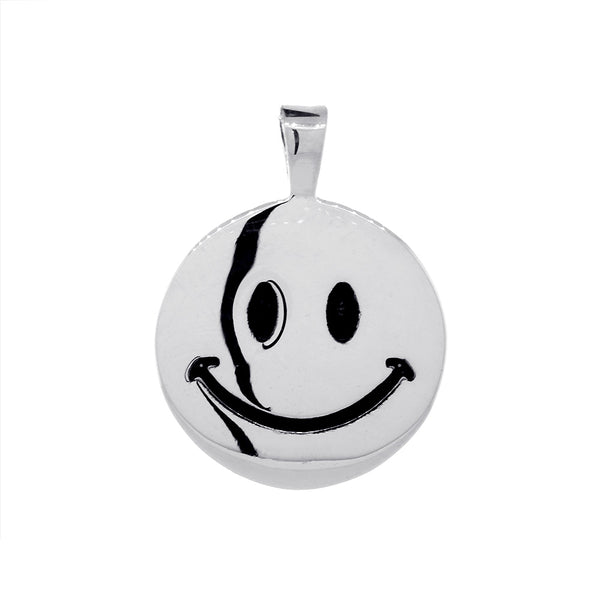 19mm Double Sided Happy, Smiley Face Charm in Sterling Silver