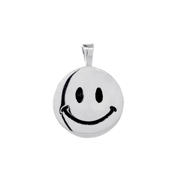 14mm Double Sided Happy, Smiley Face Charm in Sterling Silver