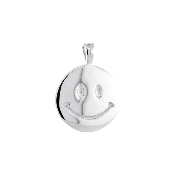 14mm Double Sided Happy, Smiley Face Charm in 14k White Gold