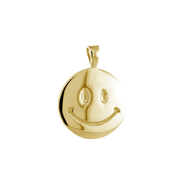 14mm Double Sided Happy, Smiley Face Charm in 14k Yellow Gold