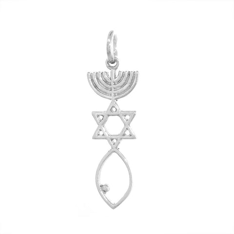 Small Messianic Seal Jewelry Charm in 14K White Gold