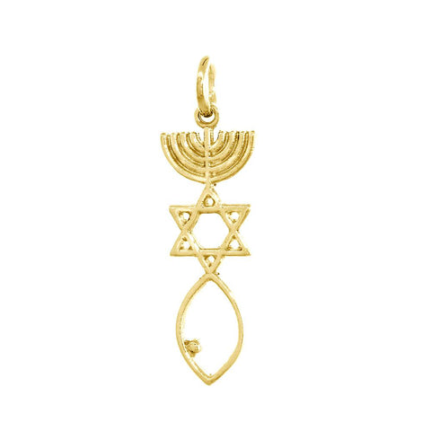 Small Messianic Seal Jewelry Charm in 14K Yellow Gold