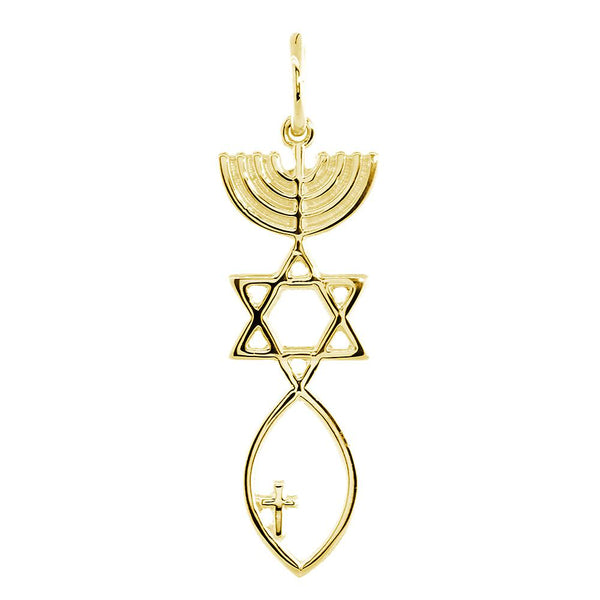 Large Messianic Seal Jewelry Charm with Small Cross in 14K Yellow Gold